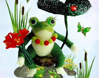 "Pattern / Tutorial Beaded Ornament - Master class for creating ""Frog"""