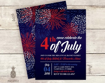 4th of July Party Invitation - Firework Delight Design - Colors Used: Black, Navy, Red, Royal Blue & White