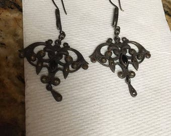 Vintage Silver and Marcasite Earrings - Hooks
