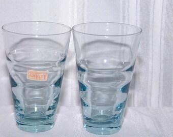 2 VIntage Blue Libbey Glasses Tumblers Tag on