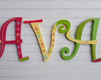 Name Wall Letters - Curly Font Letters - Nursery Letters - Girl Name Letters - Baby Name Letters