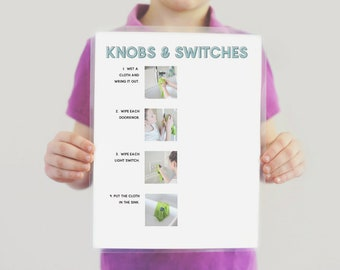 Doorknobs and Light Switches Step-By-Step Cleaning Chore Guide- CLOTH- Chore Chart