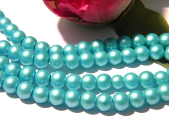 glass beads 8 mm glass Pearl, matte glass, satin, turquoise, blue, 50 Pcs - H82-6