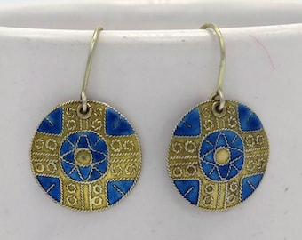 Vintage Silver Medallion Tribal Dangle Earrings