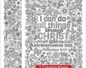 """2 Printable Coloring Pages - """"I Can Do All Things Through Christ"""" and """"Do What You Love"""" coloring pages for adults and kids"""