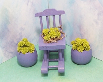 Fairy or gnome Garden miniature wood rocking chair with succulants and flower pots