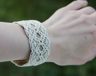 kites, wide cotton and linen lace cuff summer bracelet