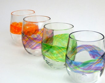 Hand Blown Art Glass Stemless Wine Glasses, Watercolor Series in Rainbow Colors Wedding Registry Gifts