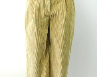 30% SPRING SALE Vintage 1970s 70s Limited Chinos Tan Classic Stretch Minimal Corduroy Tapered Leg Pleated Pants Bottoms Sz 6 Small