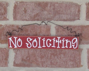 Free Shipping - NO SOLICITING SIGN (red) for home and office hanging sign