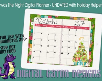 Twas The Night Holiday Digital Planner - UNDATED with Linked Tabs