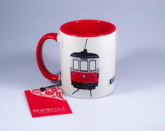 Sintra Tram Mug, Portugal, Praia das Maças, Red Tram, Portuguese tradition