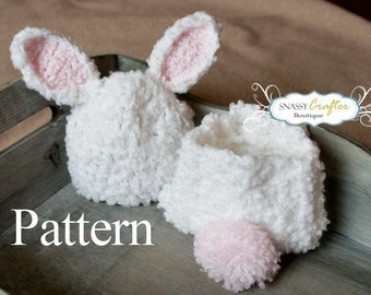 Crochet Bunny Hat Pattern, Diaper Cover Pattern, Newborn Hat Pattern, Baby Hat Pattern, Newborn - 3 Months, Snassy Crafter Original