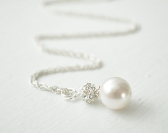 Bridal Pearl Pendant, Bridal Necklace, Sterling Silver Chain, Crystal and Pearl Necklace, Wedding Necklace