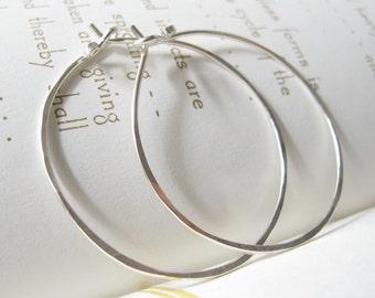 sterling silver hoops - hoop earrings - endless hammered hoops - artisan hoops