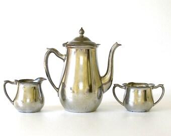 Vintage Pewter Tea Set. Teapot. Coffee Pot. Creamer. Sugar. Hygge. 3-Piece Set. Crescent Pewter. Farmhouse Kitchen. Tea Party. Display.