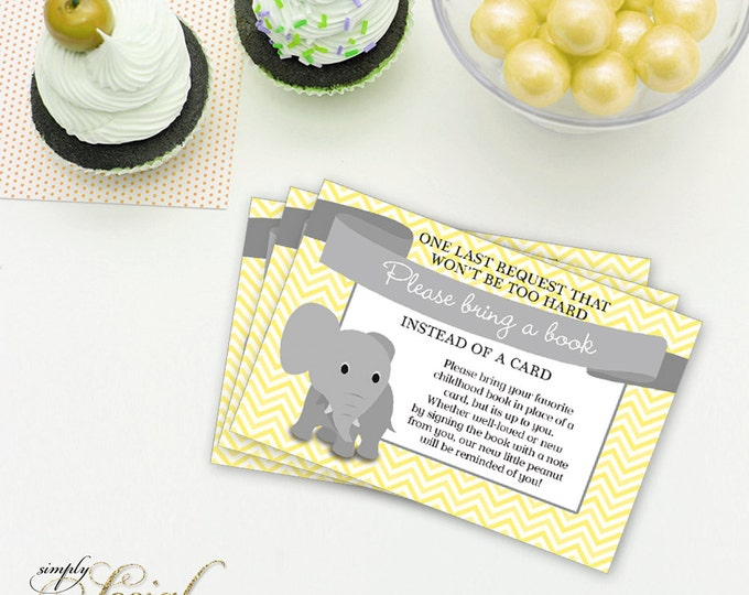 INSTANT DOWNLOAD Elephant Baby Shower Bring a Book Instead of a Card insert Yellow Chevron PRINTABLE