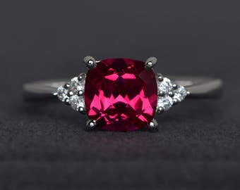 ruby engagement ring red gemstone ring cushion cut ruby ring sterling silver July birthstone ring