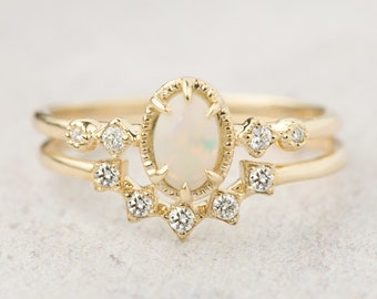 14k gold genuine Australian Opal engagement set ring, unique bridal set, alternative engagement ring, curved wedding ring, nesting band