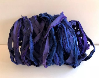 Silk Sari Ribbon-Purple/Blue Mix Sari Ribbon-10 Yards