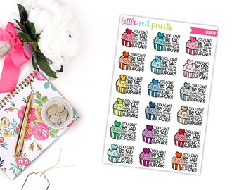 Sarcastic Cupcake Planner Stickers for the Erin Condren Life Planner, Script Sticker, Sarcastic Planner Sticker - [P0879]