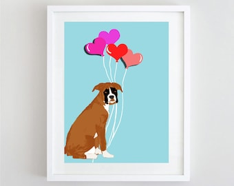 Boxer Dog with hearts , Trendy Girls Love, Valentines Day