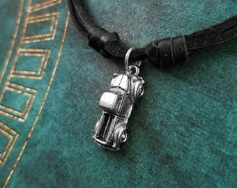 Truck Necklace SMALL Truck Charm Necklace Pickup Truck Jewelry Black Leather Necklace Cord Necklace Men's Jewelry Boyfriend Necklace Husband
