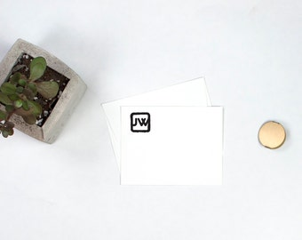 Personalized Flat Note Cards - Monogram Square