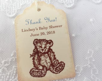 Boy Teddy Bear Baby Shower Birthday Tags Personalized Blue Set of 10