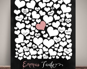 GUESTBOOK POSTER, baptism, hearts, Panel optics personalized DIN A3