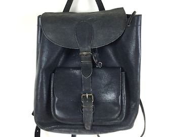 Deep Grey Leather Backpack
