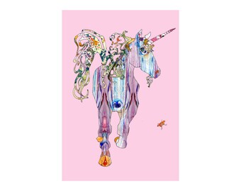 Unicorn with pink nursery wall art girl baby - 5x7, 8x10, 11x14, or 13x19