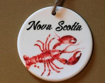 Nova Scotia Lobster ceramic Christmas ornament, maritimes Atlantic Canada,ocean, east coast,