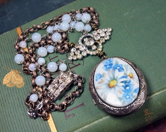 Vintage Locket Necklace Silver and Blue Rhinestone Upcycled Assemblage Jewelry