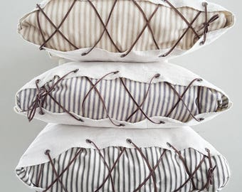 Ticking striped pillow cover, Farmhouse pillow cover, Farmhouse decor, Farmhouse pillow, Striped pillow, Pillow cover, Leather lace,