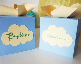 "Candy favors - baptism - themed ""mill-cloud"" for festive paper 210 gr - custom colors and text table box"