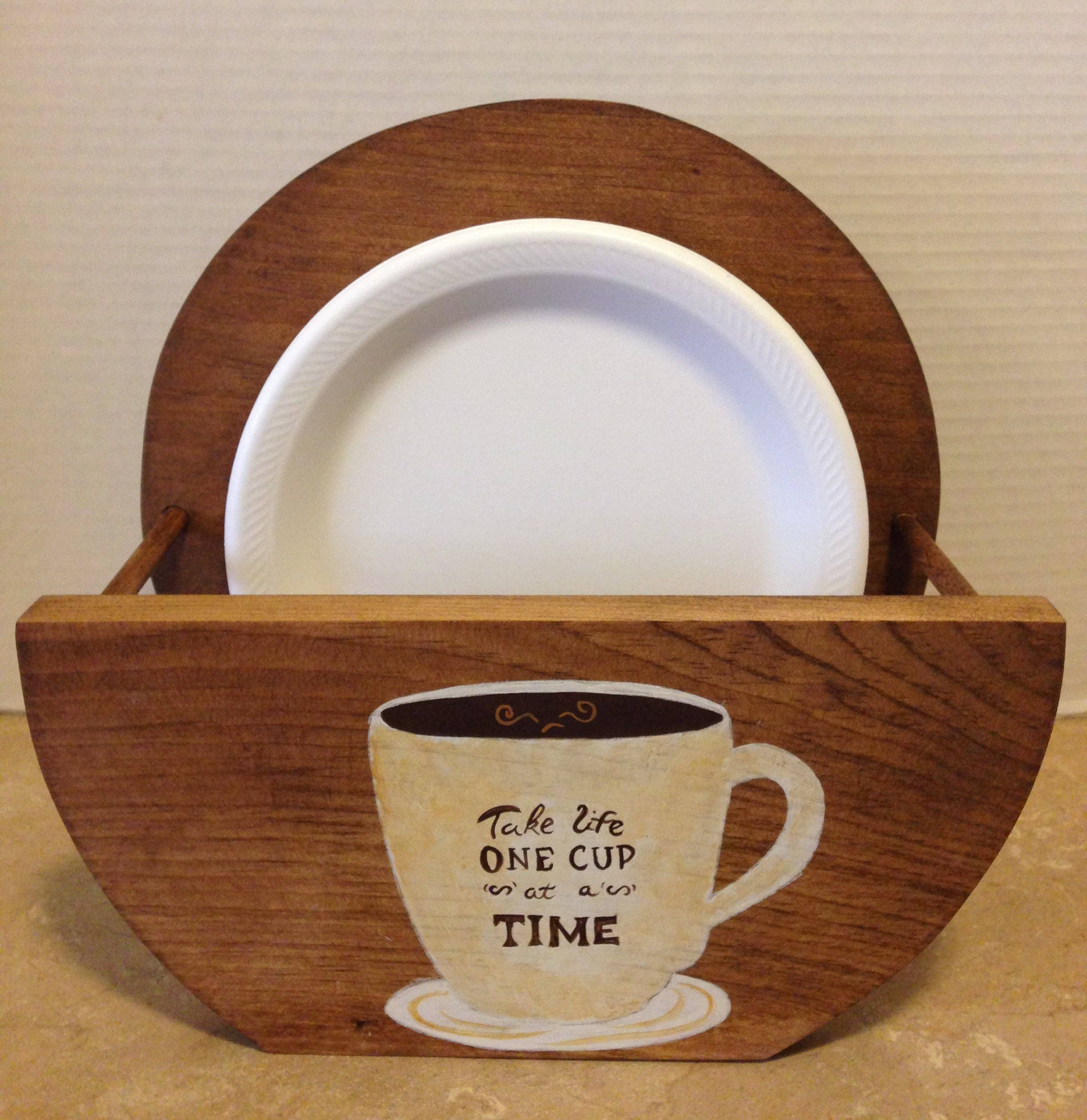 Paper Plate Holder Holder for Plates Paper Plates Wooden Plate Holder Coffee Decor Bistro Decor Coffee Lovers Gift Coffee Gift & Paper Plate Holder Holder for Plates Paper Plates Wooden Plate ...