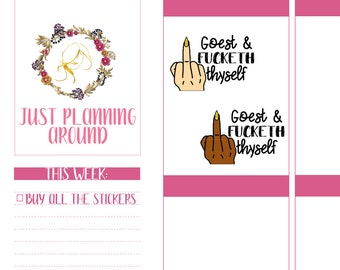 Go F Yourself Planner Stickers, Script Stickers, Calligraphy Word Stickers, Snarky Stickers, Sassy Stickers
