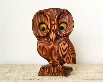 Vintage Wooden Carved Owl, Witco Style 1970s