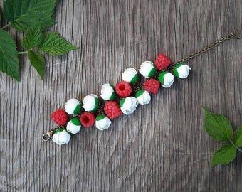 Raspberries and peonies bracelet from polymer clay,  berries bracelet, handmade jewelry, polymer clay bracelet,  flowers bracelet, gift idea