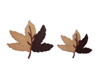 ID 1416AB Set of 2 Dual Colored Leaf Patches Maple Embroidered Iron On Applique