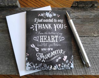 Thank you card, chalkboard card, for a great friend, card with hearts, you're awesome card. FREE SHIPPING!
