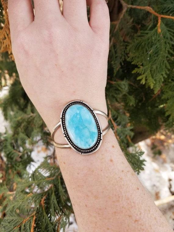 Sterling Larimar Statement Cuff, Handmade Blue Larimar Silver Bracelet