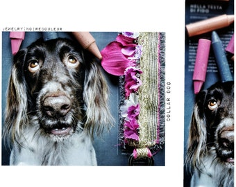 Collar Dog, Flora Collection, Noirecouleur jewelry