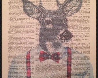 Stag Head Print Vintage Dictionary Print Page Wall Art Picture Red Tartan Deer Hipster Suit Braces Animals