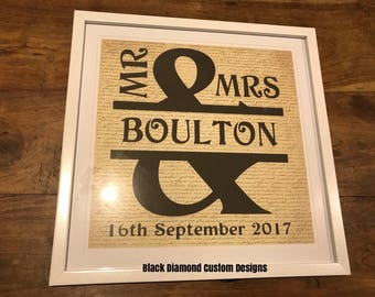 Layered Mr & Mrs framed signed in any colour combination