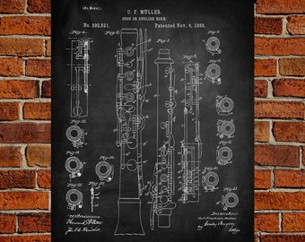 Oboe  Art Print,  Patent, Oboe  Vintage Art,  Blueprint,  Poster, PatentPrints, Wall Art, Decor [MU12A]
