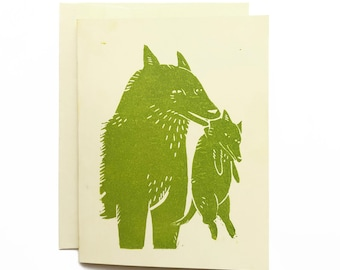Hand-Printed Wolf Mother's Day Card