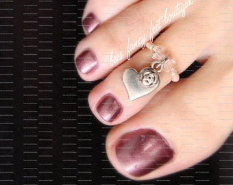 Heart Toe Ring, Heart Ring, Heart Rose Charm, Rose Beads, Rose Austrian Crystals, Toe Ring, Ring, Stretch Bead Toe Ring