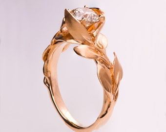 Leaves Engagement Ring, Rose Gold and Diamond engagement ring, engagement ring, leaf ring, 1ct diamond, antique, vintage, 7